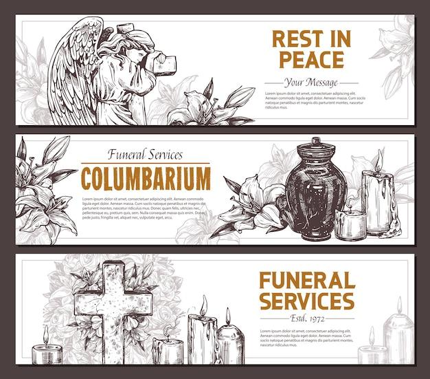 Usługi pogrzebowe ręcznie rysowane projekt zestawu poziomych banerów