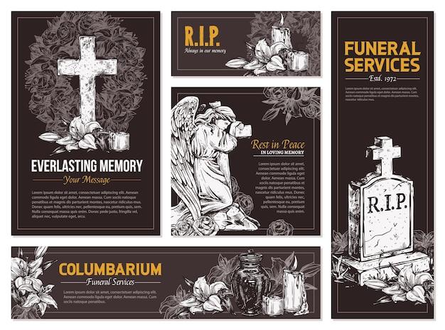Usługi pogrzebowe ręcznie rysowane zestaw banerów