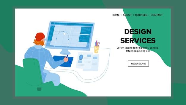 Usługi projektowe creative artist studio vector. grafik mężczyzna pracujący na komputerze i rysunku, usługi projektowe. kreatywność postaci biznes zawód web ilustracja kreskówka płaskie