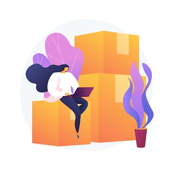 Usługi relokacyjne. wynajem mieszkań, wynajem lokali, element projektu strony internetowej agencji nieruchomości. kobieta z laptopa siedzi na kartonach.