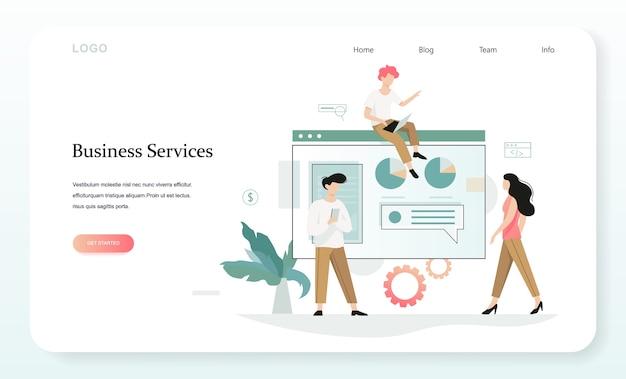 Usługi rozwijania banera internetowego twojej firmy. idea zarządzania i administracji. ilustracja w stylu