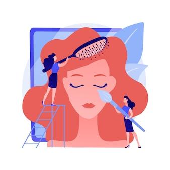 Usługi salonu piękności. profesjonalny makijaż, stylowa fryzura, luksusowe kosmetyki. salon fryzjerski dokonywanie kobiecej fryzury. klient korzystający z zabiegów w salonie fryzjerskim. ilustracja wektorowa na białym tle koncepcja metafora
