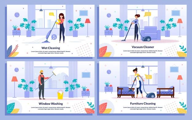 Usługi sprzątania firmy banery płaskie wektor zestaw