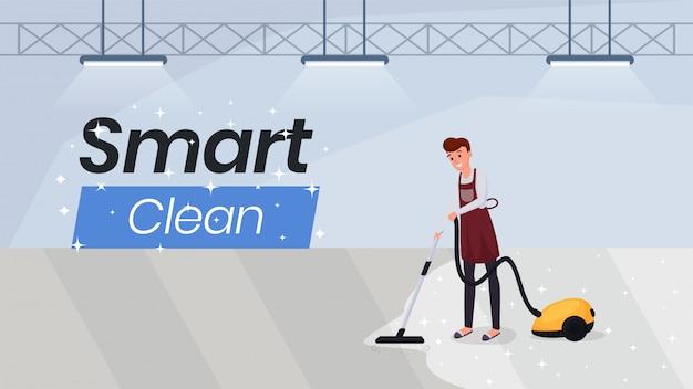 Usługi sprzątania płaski banner szablon strony internetowej