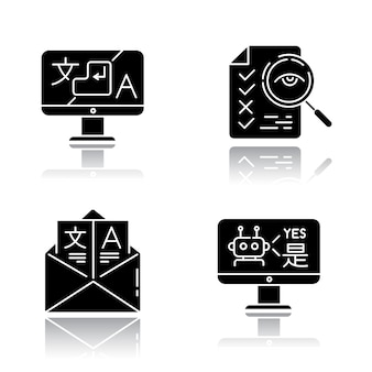 Usługi tłumaczeniowe upuszczają cień czarny glif zestaw ikon.