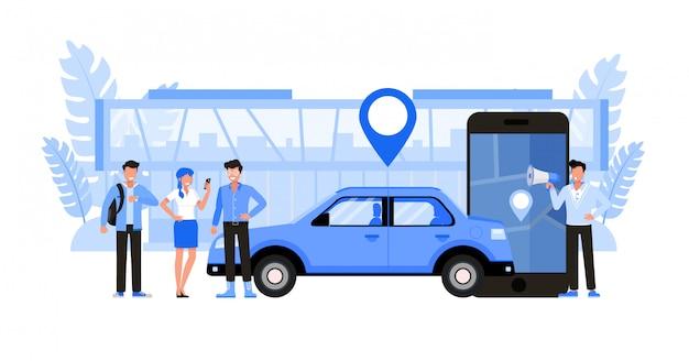 Usługi transportu transferowego. zestaw znaków .