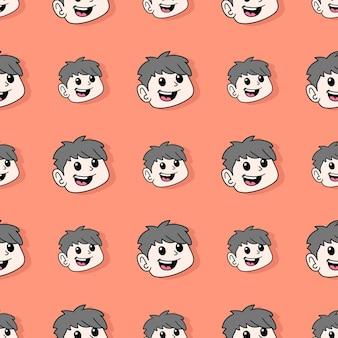 Uśmiech dziecko chłopiec bezszwowe powtórzyć wzór. tło wektor ilustracja.