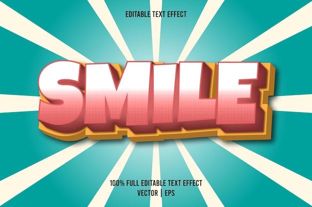 Uśmiech edytowalny efekt tekstowy w stylu komiksowym w kolorze różowym