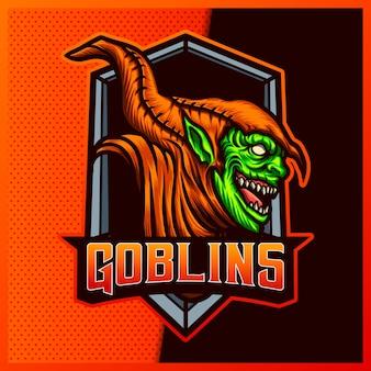 Uśmiech goblin esport i logo maskotki sportowej