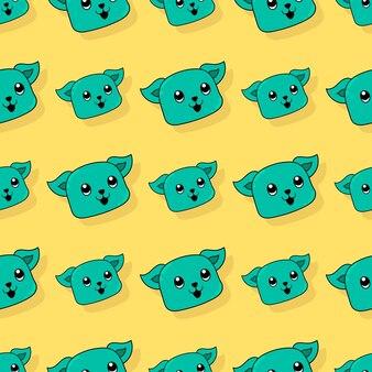 Uśmiech kota bezszwowe powtórzyć wzór. tło wektor ilustracja.