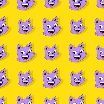 Uśmiech ładny kot bezszwowe powtórzyć wzór. tło wektor ilustracja.