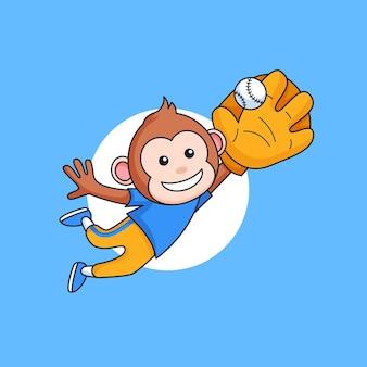Uśmiech małpa skacze i łapie piłkę rękawicą baseballową