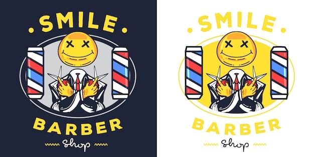 Uśmiech maskotka logo fryzjera.