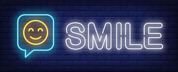 Uśmiech neon znak