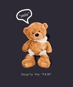 Uśmiech slogan z ilustracją lalki złamanego niedźwiedzia na czarnym tle