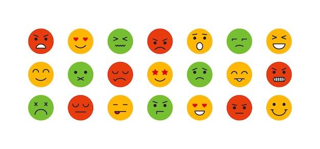 Uśmiech twarz wektor ikony emotikon zestaw kreskówka zabawny kolorowy symbol emoji