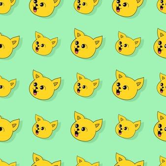 Uśmiech żółty kot bezszwowe powtórzyć wzór. tło wektor ilustracja.