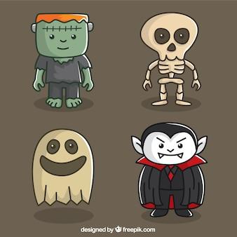 Uśmiecha duch z innymi potworami halloween
