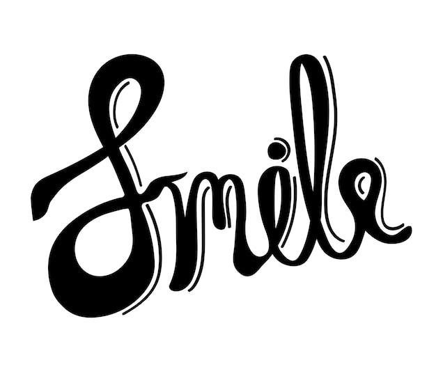 Uśmiecha się słowo typografii projekta ilustrację