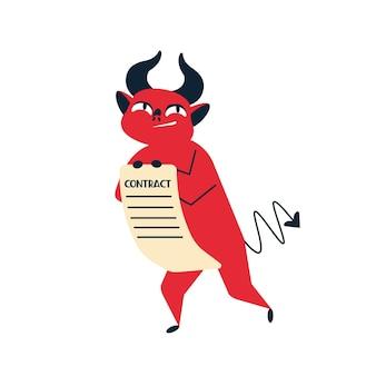 Uśmiechający się kreskówka czerwony diabeł umowy płaskie ilustracja wektorowa. postać potwora rogatego oferująca umowę traktatową na białym tle. oszukańcza koncepcja transakcji biznesowych, sprzedając duszę demonowi.