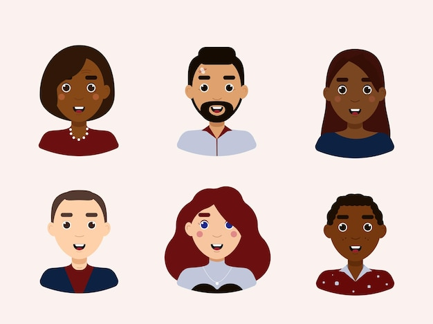 Uśmiechający się ludzie avatar zestaw ilustracji