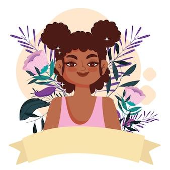 Uśmiechający się postać kobiety afro american z dmuchawami i wstążką