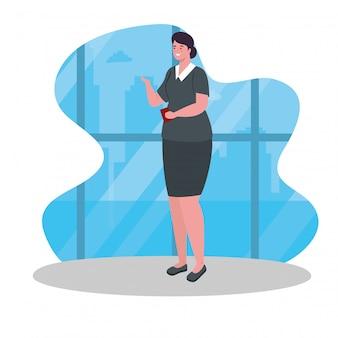 Uśmiechający się stewardessa samolotu ubrana w jednolity projekt ilustracji wektorowych