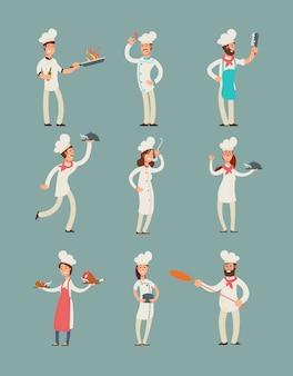Uśmiechający się szefów kuchni restauracji, profesjonalnych kucharzy w kuchni zestaw znaków kreskówek jednolite