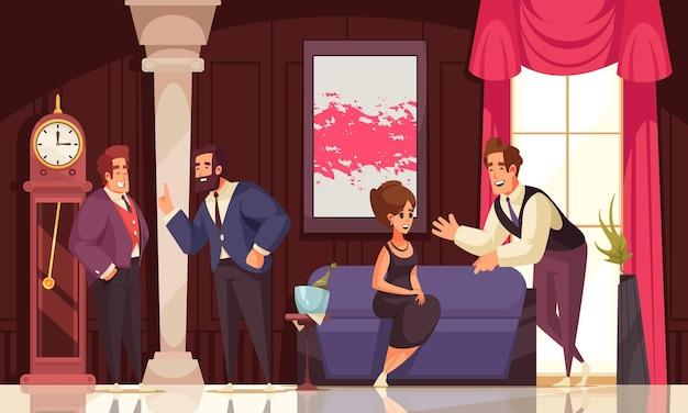 Uśmiechnięci bogaci ludzie przychodzący na wydarzenie towarzyskie i komunikujący się ze sobą kolorowa płaska ilustracja