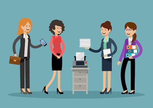 Uśmiechnięci ludzie biznesu, pracownicy biurowi
