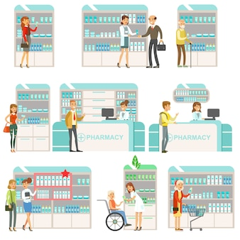Uśmiechnięci ludzie w aptece wybieranie i kupowanie leków i kosmetyków zestaw scen drogerii z farmaceutami i klientami