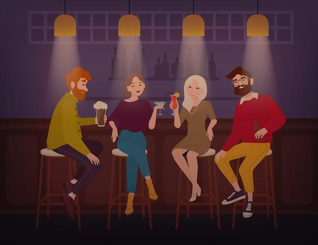 Uśmiechnięci mężczyźni i kobiety ubrani w stylowe ubrania siedzą przy barze, rozmawiają i piją napoje alkoholowe.