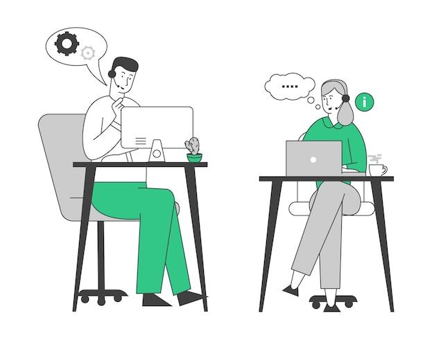 Uśmiechnięci przyjaźni agenci call center płci męskiej i żeńskiej