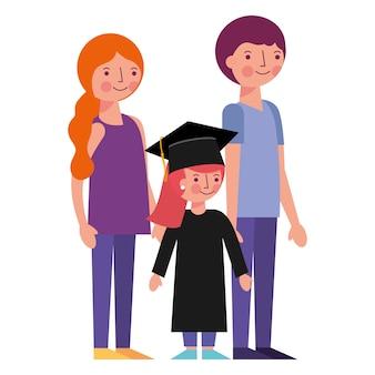 Uśmiechnięci rodzice i córka absolwentka