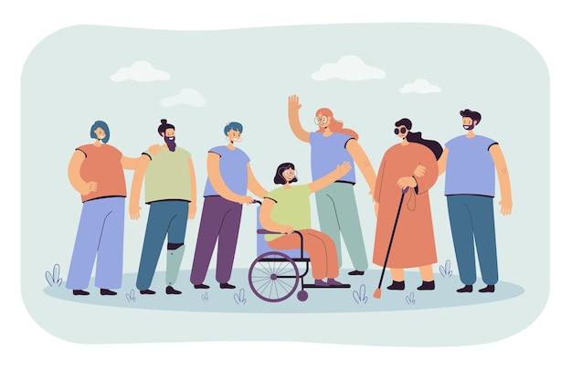 Uśmiechnięci wolontariusze pomagający osobom niepełnosprawnym na białym tle płaska ilustracja. ilustracja kreskówka