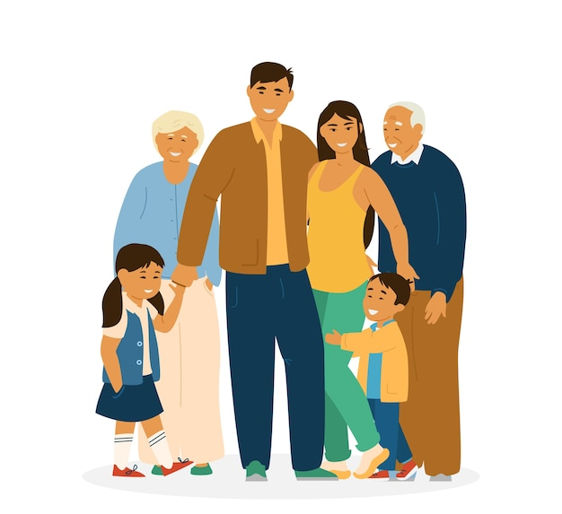 Uśmiechnięta azjatycka rodzina stojących razem. rodzice, dziadkowie i dzieci. biały. znaki azjatyckie. ilustracja.