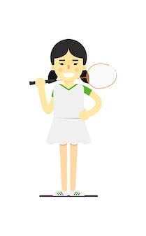 Uśmiechnięta badminton sportsmenka z kantem