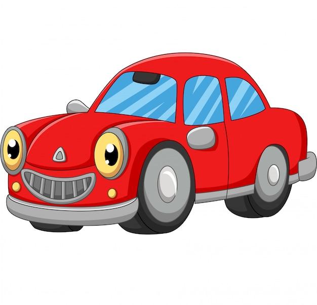 Uśmiechnięta czerwona samochodowa kreskówka na bielu