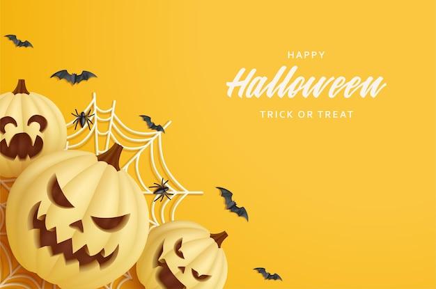 Uśmiechnięta dynia halloween z pajęczynami