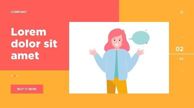 Uśmiechnięta dziewczyna i pusty dymek. ręka, mówienie, rozmowa. koncepcja komunikacji i wiadomości dla projektu strony internetowej lub strony docelowej