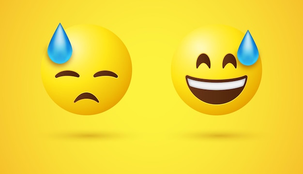 Uśmiechnięta emotikonowa twarz z zimnym potem i smutno przygnębionymi zamkniętymi oczami
