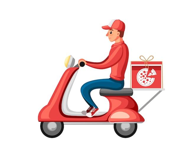 Uśmiechnięta ilustracja kurier dostawy pizzy