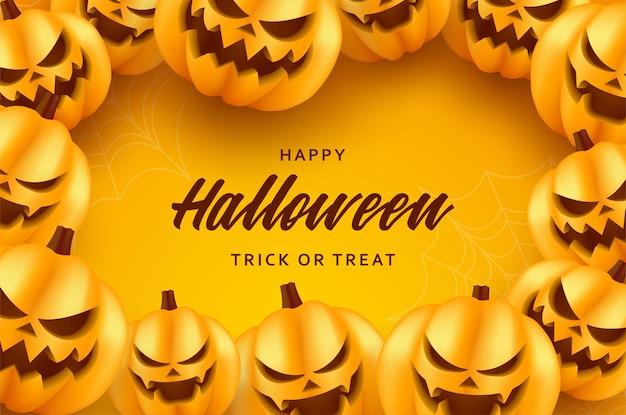 Uśmiechnięta ilustracja tła dyni halloween na pomarańczowym tle