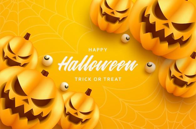 Uśmiechnięta ilustracja tła dyni halloween