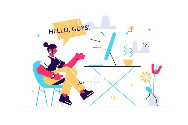 Uśmiechnięta kobieta influencer rozmawia kręcenie wideo na żywo przed ilustracją laptopa.