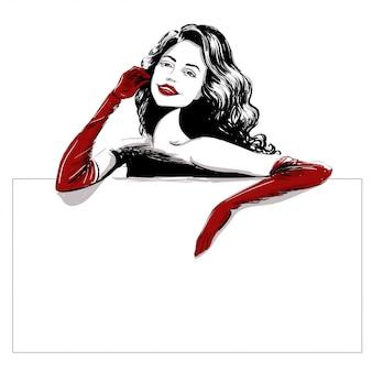 Uśmiechnięta kobieta w długim czerwonym rękawiczka szablonie