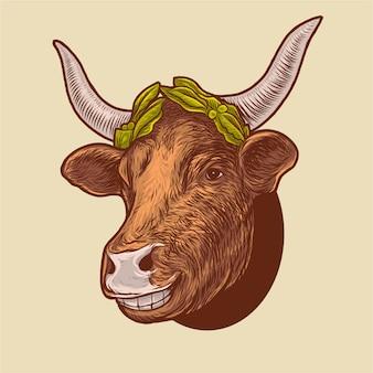 Uśmiechnięta krowa jest ubranym liść koronuje organicznego gospodarstwa ilustrację
