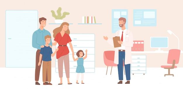 Uśmiechnięta matka, ojciec i dzieci przybyli do gabinetu lekarskiego, kliniki lub szpitala. wizyta u lekarza rodzinnego lub spotkanie z doradcą medycznym. kolorowa ilustracja w płaskim kreskówka stylu.