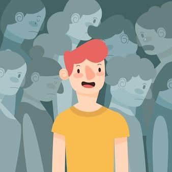 Uśmiechnięta osoba w tłumu pojęciu dla ilustraci