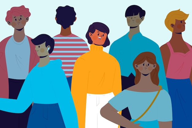 Uśmiechnięta osoba w tłumu temacie dla ilustraci
